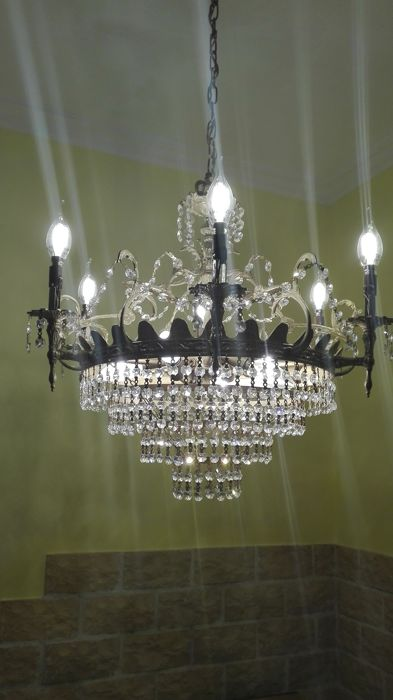 Crystal and bronze chandelier, 20th century