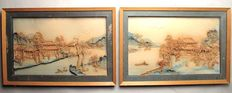 A large pair of cork carvings, with the subject of a landscape - China - End of the 19th century.