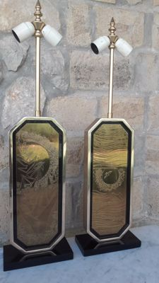 Maho designo ( George Mathias  ) - Gold plated brass lamp pair limited 23/250