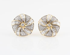 "14 kt yellow gold diamond earrings, 0.79 ct / 4.30 g / G-H VS1-VS2 / 12 x 12 x 12 mm ""NEW"""