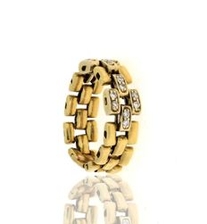 Gold Ring 19.2kt with 16 Diamonds - Size 16