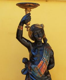 Large-sized lacquered, polychrome and gilt wood sculpture of a Moor - Venice - ca. 1870-1880