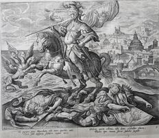 2 prints by Adriaen Collaert (c. 1560 – 29 June 1618) after an design by Marten de Vos (1532 – 4 December 1603)  - Two of Four Illustrious Rulers of Antiquity / Ninus of Ninive & Alexander The Great - 1575-1618