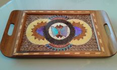 1950s Brazilian tray with butterfly wings decoration