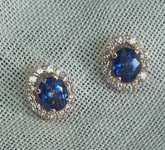 Top quality ceylon sapphire and diamond ear studs, 1.78 ct in total