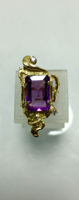 Art Nouveau style - 18K Gold Ring - Diamonds & Amethyst ca. 6ct