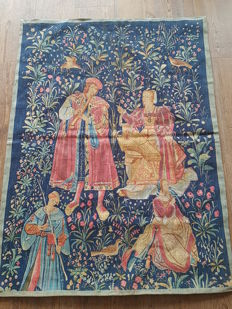 "Editions d'art de Rambouillet: a machine woven tapestry to 16th century example: ""Le concert mois d'avril"", France, 20th century"