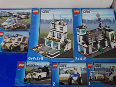 City - 7744 + 3177 + 7245 + 7741 - Police Headquarters + Small Car + Prisoner Transport + Police Helicopter