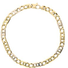 14 kt - Bi-colour link bracelet with large links which are alternating yellow gold and white gold - Length: 21 cm