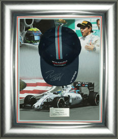 Signed Felipe Massa Williams Martini Racing F1 Cap Framed Display