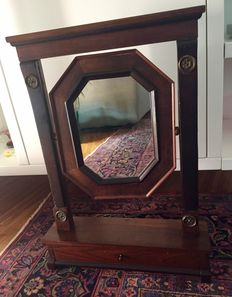 Wooden mirror with jewellery drawer - United Kingdom - late 1800s