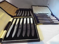 Set of 6 mother of pearl art deco & fIrth staInless fruit knIves 6 Vintage Silver Plated Butter Knives with Mother of Pearl Handles in Case 6 VGC 6 nice vintage butter Knives EPNS silver plated Blue handles In Case