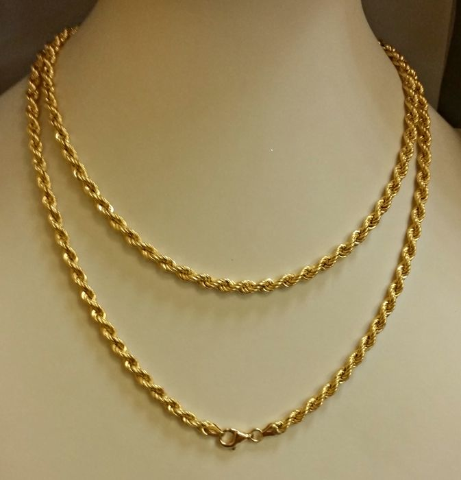 18 kt gold unisex necklace - Length: 80 cm