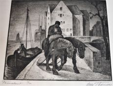 Otto Thämer (1892-1975) end of working day - Number 19 of 100 in the passepartout