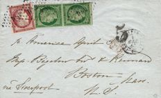 France 1852 – Cérès, pair on letter to Boston, Signed by Calves and Roumet – Yvert No. 2b and 6