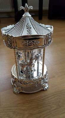 Gorgeous vintage silver plated Wallace carousel music box of Wallace Silversmith's.