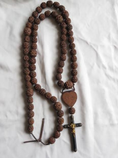 Old large wooden monastery rosary - France - around 1920