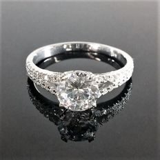 Double Band Diamond Ring With 1.32 ct total Diamonds - Center G/SI1 -  14K White Gold - Size : 6 USA. - with IGL Certificate