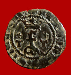 Spain – Catholic Kings (1474–1504), scarce blanca copper coin. Toledo. T / T low crosses