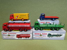 "Atlas-Dinky Toys - Scale 1/43 -  Lot with 4 Models: Foden Flat Truck - No.905, Leyland Octopus Tanker Esso No.943, Guy Van ""Heinz"" - No.920 & Guy Flat Truck - No.512"