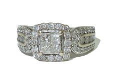 14 kt white Gold Ring with Diamonds, 1.03 ct in total - signed Soffia