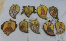 Christian Orthodox icons - 9 objects, in cypress wood - Greece