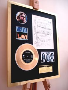 Nirvana Kurt Cobain 24ct gold plated disc and hand written lyrics display montage