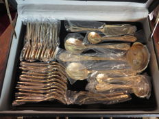 Gold cutlery set Solingen - In an elegant diplomats case.