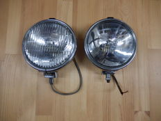 A Pair of Chrome 1950's Lucas Matching FT6/9 and LR6/9 One Spot light and One Fog light in Very good Used Vintage Condition