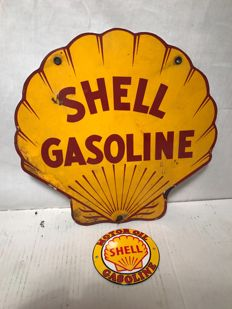 Set of two enamel Shell signs