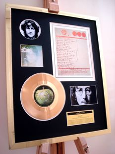 "John Lennon Imagine 7"" vinyl record and hand written (print)  lyrics display montage"