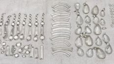 Antique French crystal icicles, rosettes and ornaments, around 150 pieces, ca. 1920, France