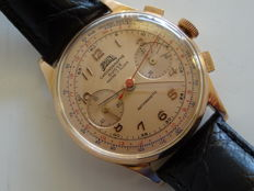 Egona Chronograph Suisse, 18 kt rose gold, vintage men's wristwatch, 1950, OVERHAULED