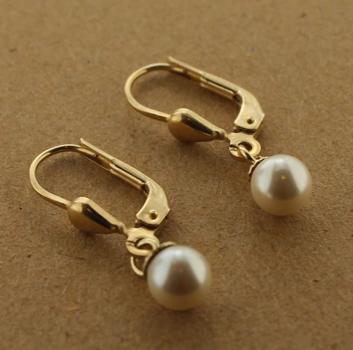 14 kt Gold earrings inlaid with pearl - 2.2 x 1 cm