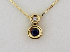 Pendant and chain (43 cm) in 18 kt yellow Gold and diamonds of 0.05 ct - length 43 cm