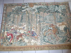 "Large tapestry from the Artis flora workshop, a tapestry from the beginning of the 20th century based on one from the 16th century ""Chasse de Maximilien"""