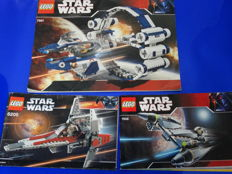 Star Wars - 7661 + 7656 + 6205 - Jedi Starfighter with Hyperdrive Booster Ring + General Grievous Starfighter