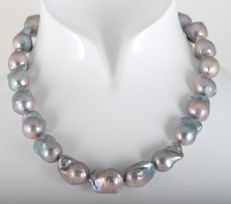 Large Baroque Freshwater Pearlnecklace 12x16mm with Silver Clasp and Ordinex Certificate, L 44cm