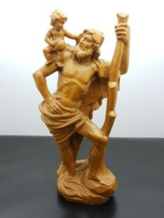 Wooden sculpture Saint Christopher - Italy 1880