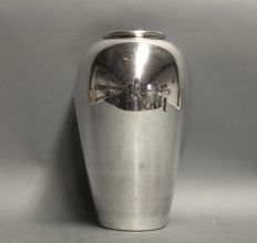Large, high, silver plated vase, England, mid-20th century