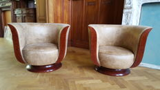 Pair of French Art Deco-style armchairs - walnut wood, recently reupholstered, 20th century