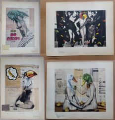 Art print; Lot of 4 limited edition prints by VinZ Feel Free - 2015