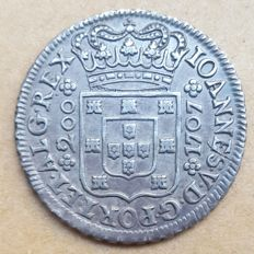 Portugal - 12 Vintens 1707 - D. Joao V - Extremely Rare - Superior Condition