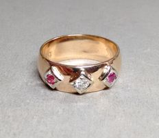 Ring made from 14 kt rose gold with ruby and 0.07 ct brilliant handmade, ring size 62.5