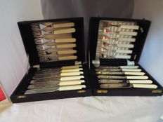 2boxes of silverplated fish knives