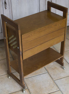 Wooden sewing box with three drawers, first half of the 20th century, Belgium.
