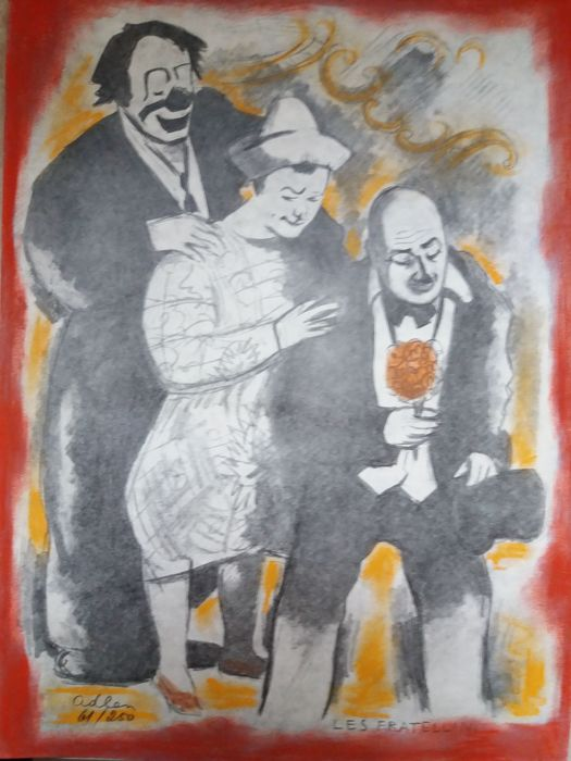 Clowns de Paris. 25 etchings of Adlen Text of Serge - 1959