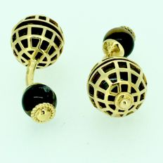 Yellow gold cufflinks with tiger's eye