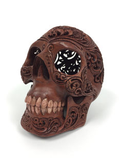 Hand carved Human skull - Tribal style carving - Teeth made from buffalo bone