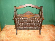 Jambire Wood Carved Magazine Rack - ca. 1960's